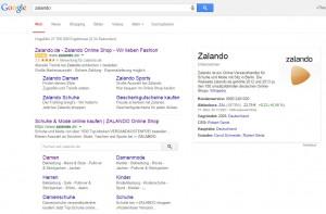 Google Suche: Zalando Suchfeld
